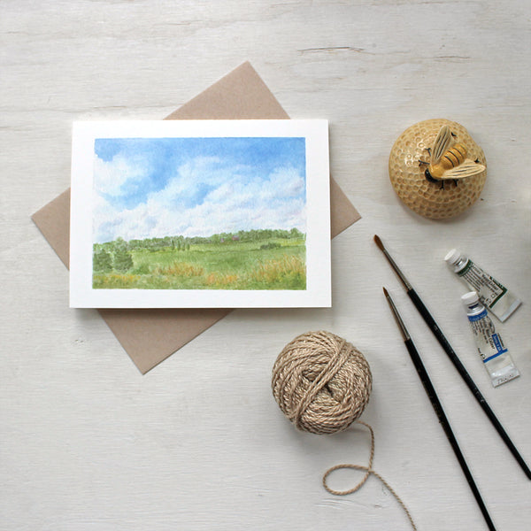 Rural landscape on a summer day - Set of note cards featuring a watercolor painting by Kathleen Maunder