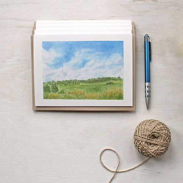 Summer day - Set of note cards featuring a rural landscape watercolor painting by Kathleen Maunder