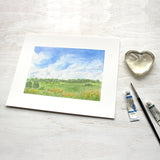 Rural landscape watercolor painting called 'Summer Day' - 8 x 10 print - Artist Kathleen Maunder