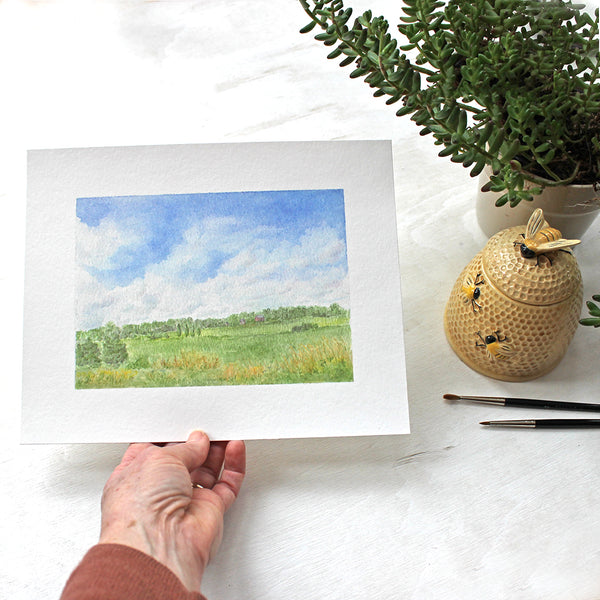 Print featuring a rural landscape watercolour painting called 'Summer Day'. Artist Kathleen Maunder