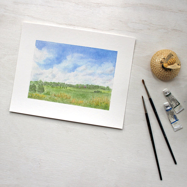 Countryside landscape watercolor painting - 8 x 10 print of 'Summer Day' by Kathleen Maunder