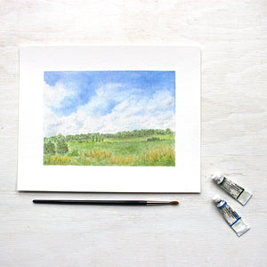 Rural landscape watercolor painting - 8 x 10 print of 'Summer Day' by Kathleen Maunder