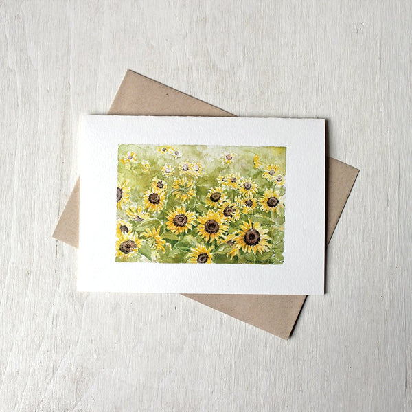 Sunflowers note card featuring a watercolour painting by Kathleen Maunder.
