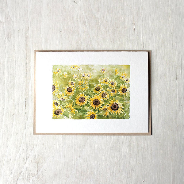 Sunflower note card with recycled kraft envelope. Watercolor artist: Kathleen Maunder.