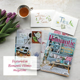 Featured in Romantic Homes magazine: Tea note cards by watercolor artist Kathleen Maunder