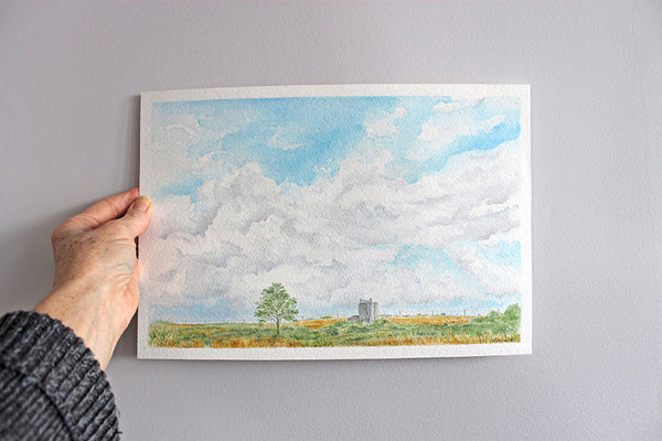 Original watercolor painting depicting a Texas rural scene. Artist Kathleen Maunder.