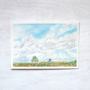 Original watercolor painting of rural landscape in Texas. Artist Kathleen Maunder.