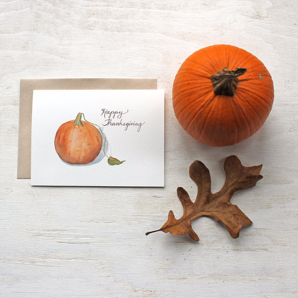 Pumpkin Thanksgiving greeting cards by watercolor artist Kathleen Maunder