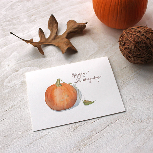 Set of 5 Happy Thanksgiving greeting cards featuring a pumpkin watercolor by Kathleen Maunder