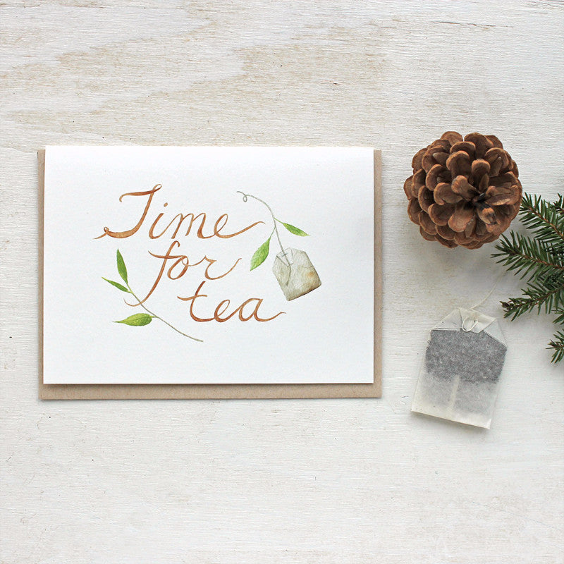 Note card featuring Time for Tea watercolor by Kathleen Maunder