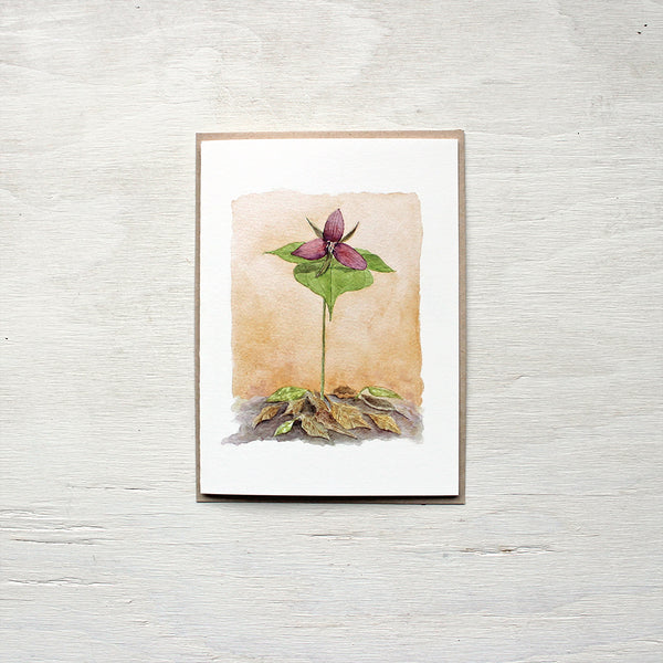 Red Trillium Watercolor Note Card featuring a painting by Kathleen Maunder