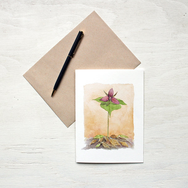 Red Trillium Watercolor Note Card and kraft envelope. Painting by Kathleen Maunder.
