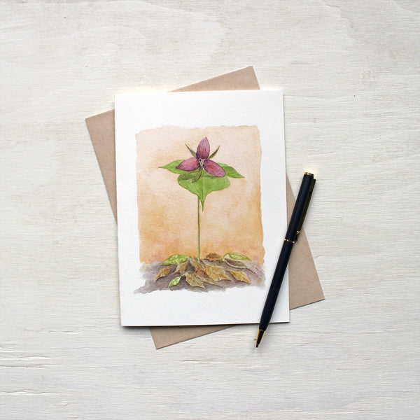 Red Trillium Note Cards featuring a watercolor painting by Kathleen Maunder