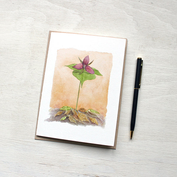 Red Trillium Note Cards featuring a watercolour painting by Kathleen Maunder