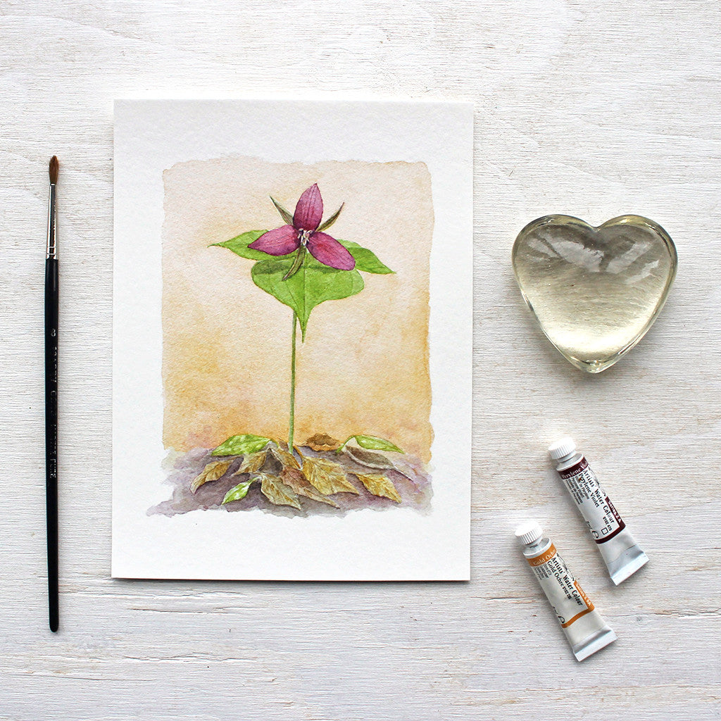 This lovely botanical print is based on an original watercolor I painted of a red trillium: one of spring's loveliest wildflowers.