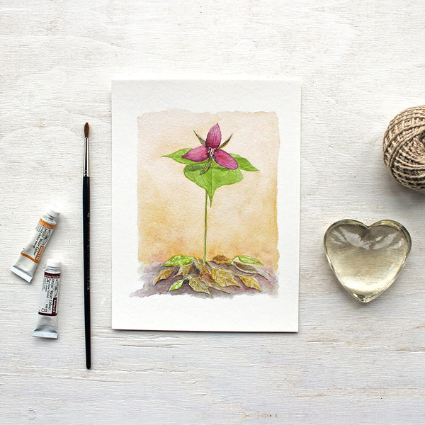 Red trillium print based on a watercolor painting by Kathleen Maunder