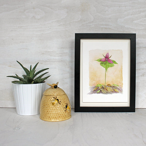Framed trillium watercolor print by artist Kathleen Maunder