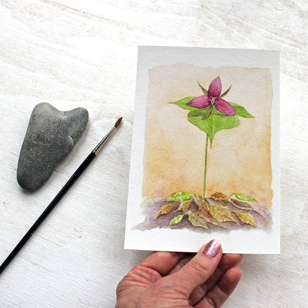 Red trillium art print in 5 x 7 inch format by watercolor artist Kathleen Maunder