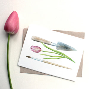 Set of 5 Trowel and Paintbrush Note Cards