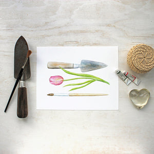 Trowel Paintbrush Watercolor Print