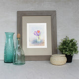 Framed crocus and tulip bouquet print by Kathleen Maunder (Trowel and Paintbrush)