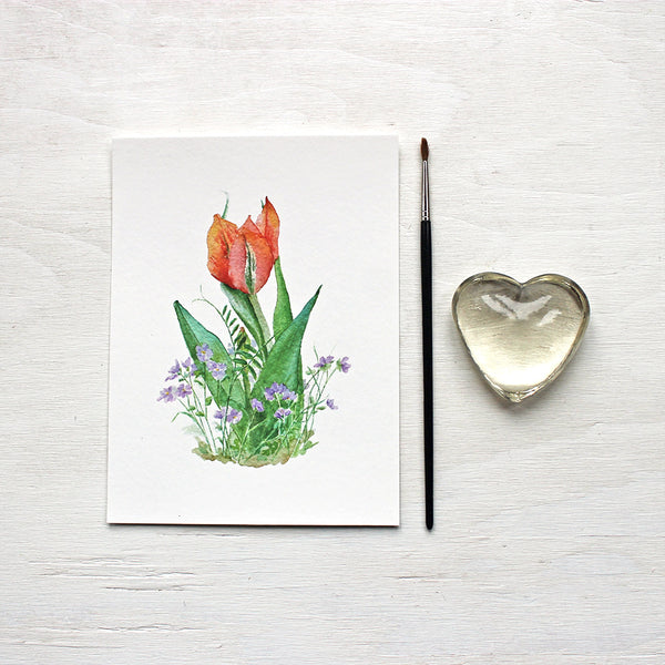 Red Orange Tulip and Violets Print - Watercolor Painting by Kathleen Maunder