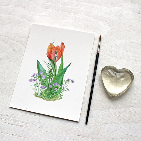 Red Orange Tulip and Violets Print - Watercolour Painting by Kathleen Maunder