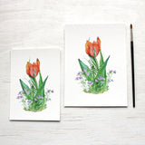Red Orange Tulip and Violets Print - 5 x 7 and 6 x 8 inches - Watercolor Painting by Kathleen Maunder