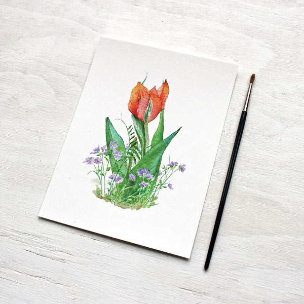 Red Orange Tulip and Violets Print featuring a watercolor painting by Kathleen Maunder