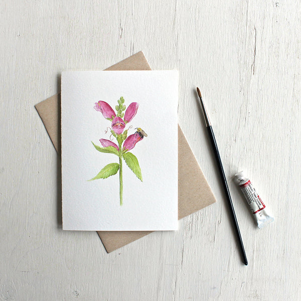 Pink Chelone obliqua flower and a bee on a note card by watercolour artist Kathleen Maunder.