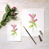 Turtlehead Flowers and Bee print available in 5 x 7 and 8 x 10 formats from Trowel and Paintbrush