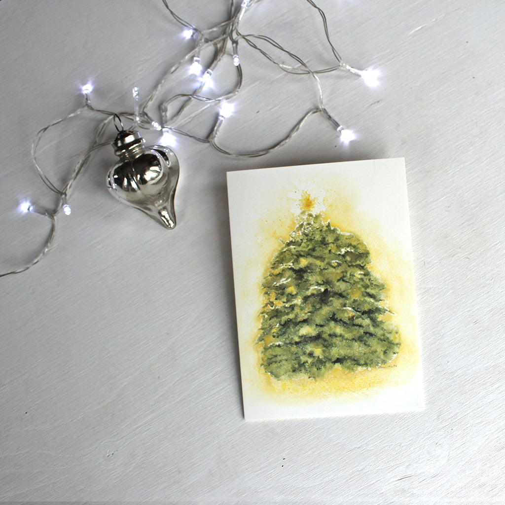Twinkling Tree watercolour holiday card by Kathleen Maunder