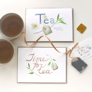 Set of tea note cards by watercolor artist Kathleen Maunder