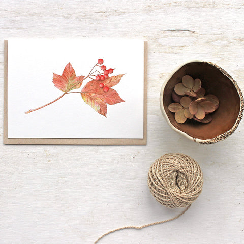 Viburnum leaves and berries note card by Kathleen Maunder (trowelandpaintbrush)