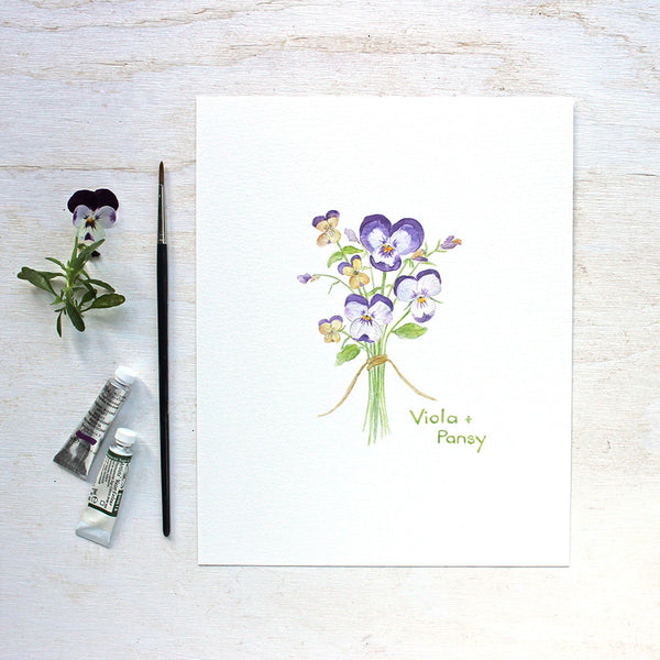 Pansy and Viola Watercolor Print by Kathleen Maunder of Trowel and Paintbrush