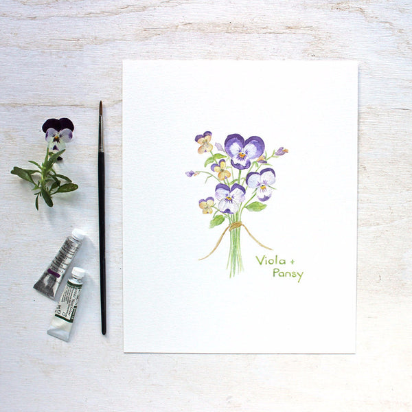 Pansy and viola print - Botanical watercolor painting by Kathleen Maunder