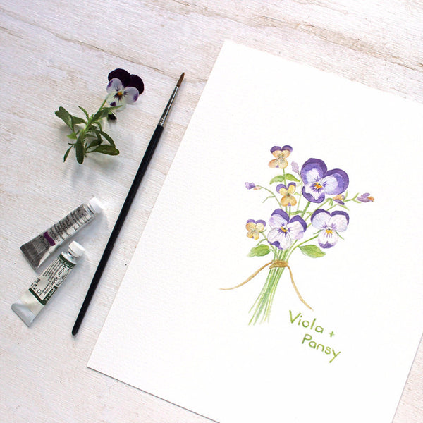 Print of a Viola and Pansy botanical watercolor painting by Kathleen Maunder