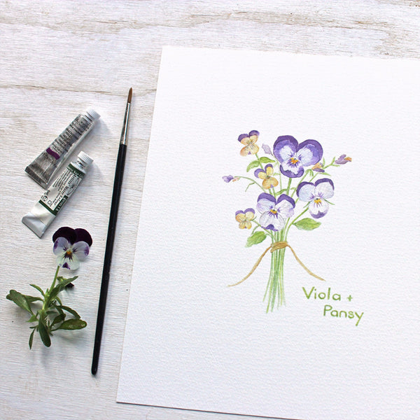 Viola and Pansy watercolor print by artist Kathleen Maunder