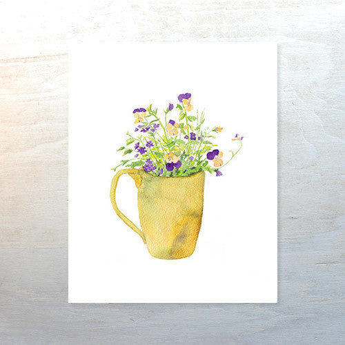 Violas and Verbena in Mug - Watercolor Print