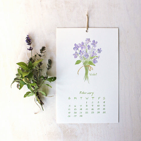 2017 Calendar - Herbs and Edible Flowers (with hole and twine)