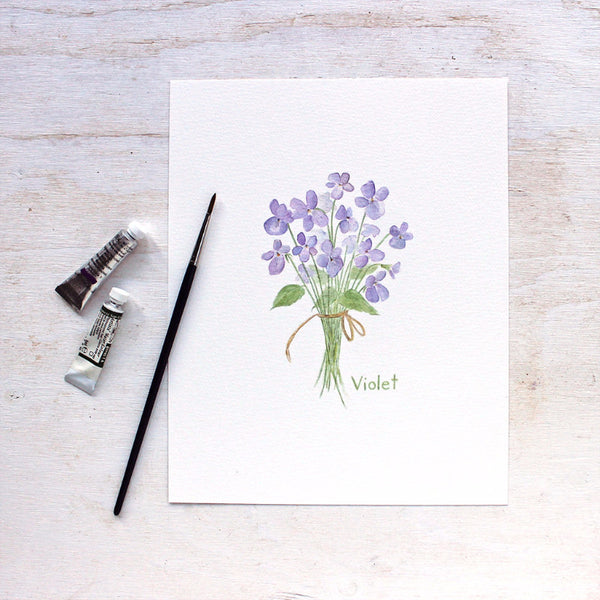 Violets print - Botanical watercolor painting by Kathleen Maunder