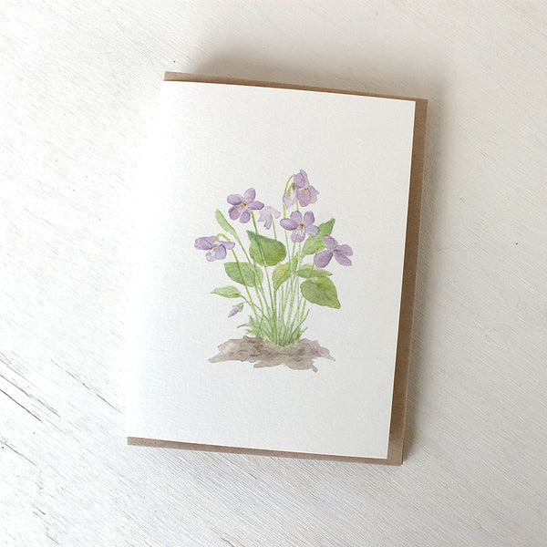 Blank note card with violet watercolour by Kathleen Maunder (Trowel and Paintbrush)