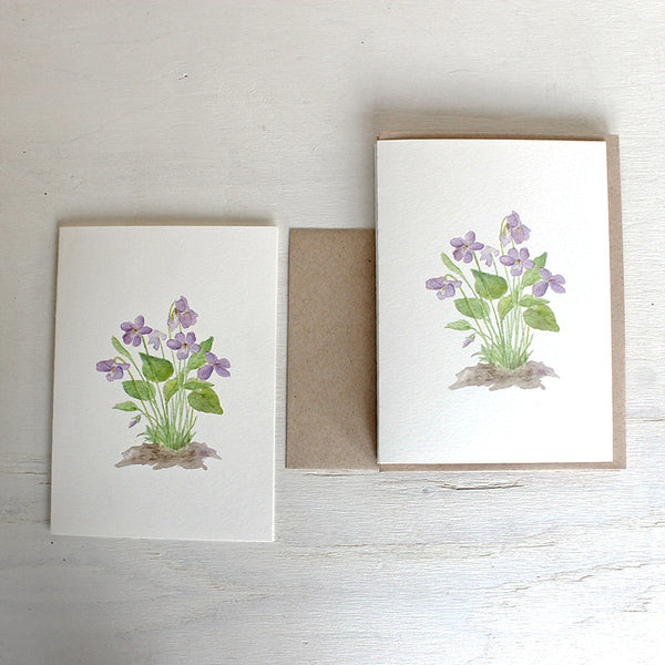 Note cards featuring wood violets by watercolor artist Kathleen Maunder