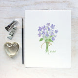 Edible Flower Watercolor Print - Violet