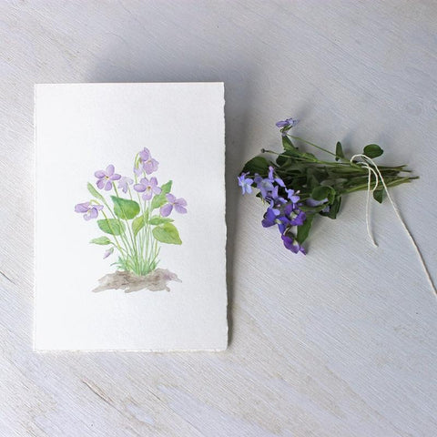 Wood Violets: Original Watercolor Painting