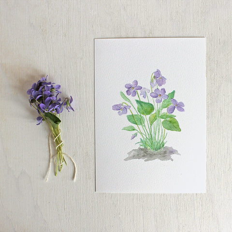 Watercolor Print of Wood Violets