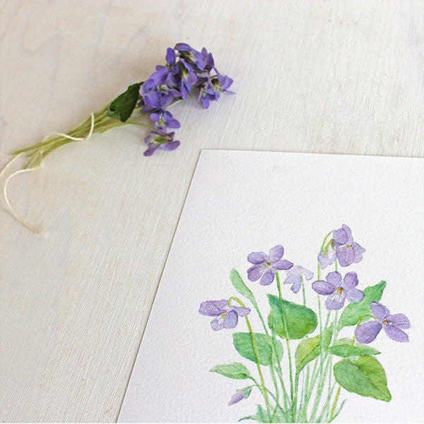 Detail of violets watercolor print by artist Kathleen Maunder, Trowel and Paintbrush