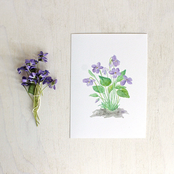 Watercolor print of wood violets by artist Kathleen Maunder