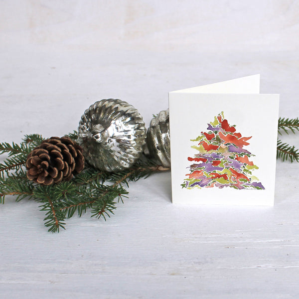 Holiday Tree Gifts Cards for Christmas by watercolor artist Kathleen Maunder of Trowel and Paintbrush