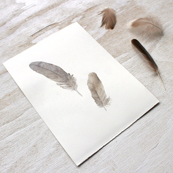 Watercolour painting of sparrow feathers by Kathleen Maunder, trowelandpaintbrush.com